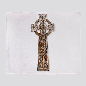 Wooden Celtic Cross Throw Blanket
