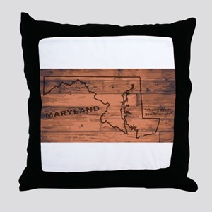 Maryland Map Brand Throw Pillow