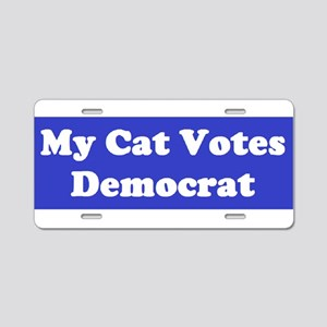 Cat Votes Dem Blue Aluminum License Plate