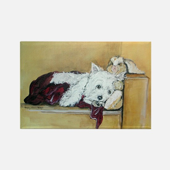 Westie and Bunny Rectangle Magnet