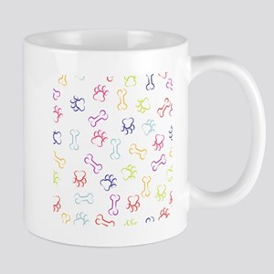 Dog paw and bone stroke seamless pattern Mugs