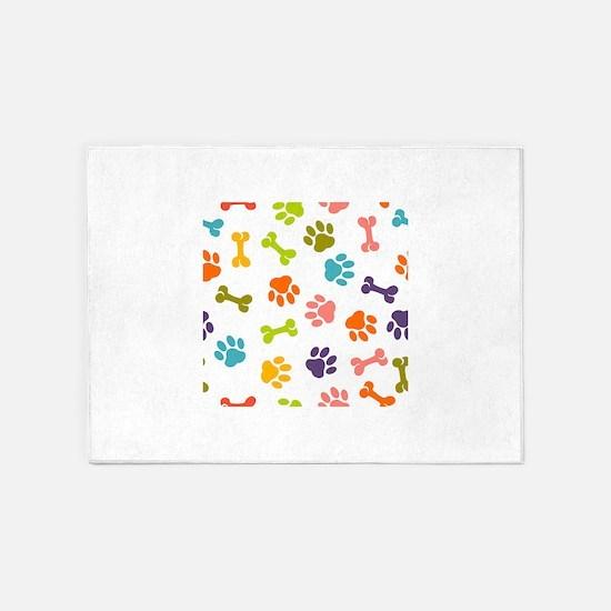 Dog paw seamless pattern 5'x7'Area Rug