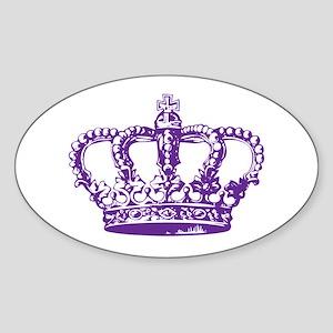 Purple Crown Oval Sticker