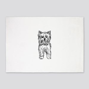 Sketch staring dog 5'x7'Area Rug