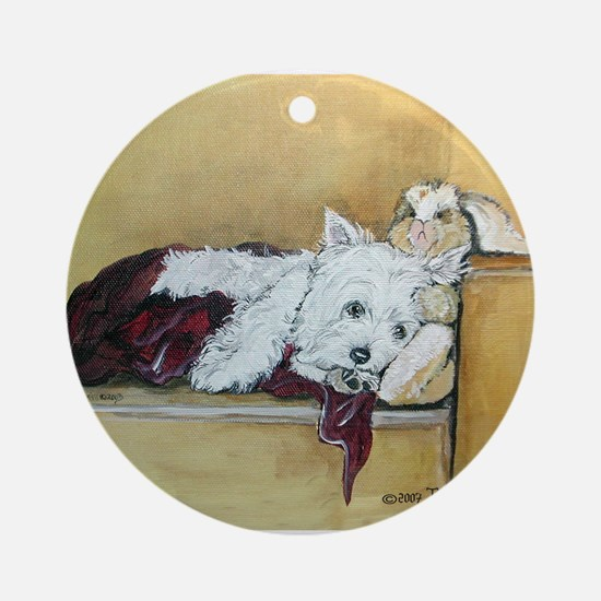 Westie and Bunny Ornament (Round)
