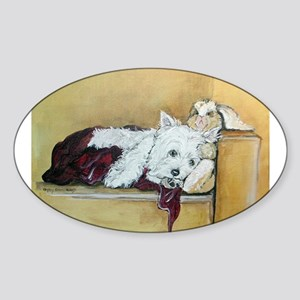 Westie and Bunny Oval Sticker