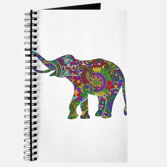 Cute Retro Colorful Floral Elephant Journal