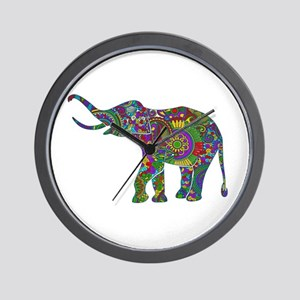Cute Retro Colorful Floral Elephant Wall Clock
