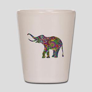 Cute Retro Colorful Floral Elephant Shot Glass