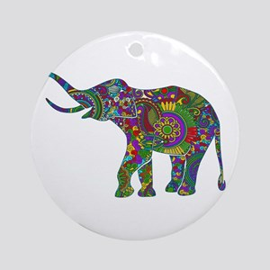 Cute Retro Colorful Floral Elephant Round Ornament