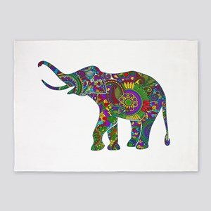 Cute Retro Colorful Floral Elephant 5'x7'Area Rug