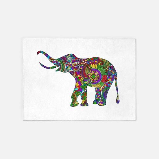 Cute Retro Colorful Floral Elephant 5'x7'Area Rug