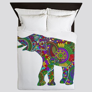 Cute Retro Colorful Floral Elephant Queen Duvet