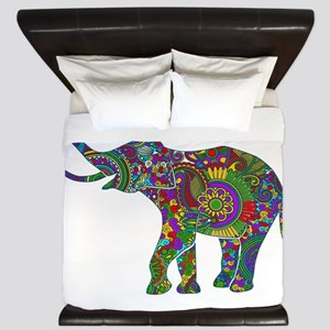 Cute Retro Colorful Floral Elephant King Duvet