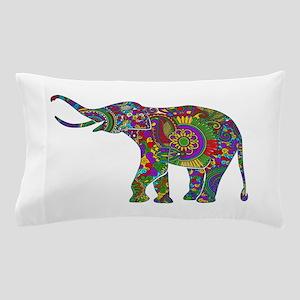 Cute Retro Colorful Floral Elephant Pillow Case