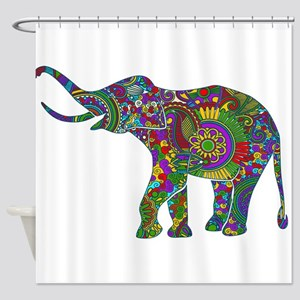 Cute Retro Colorful Floral Elephant Shower Curtain