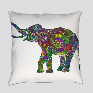 Cute Retro Colorful Floral Elephan Everyday Pillow