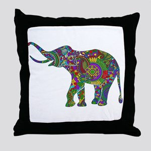 Cute Retro Colorful Floral Elephant Throw Pillow