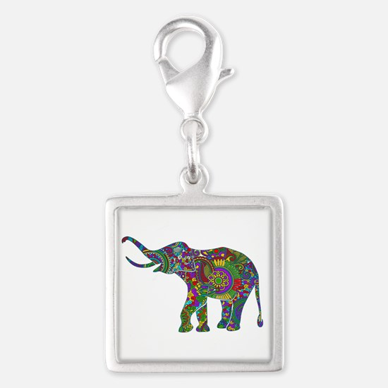 Cute Retro Colorful Floral Elephant Charms
