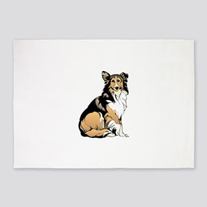 Sitting collie 5'x7'Area Rug