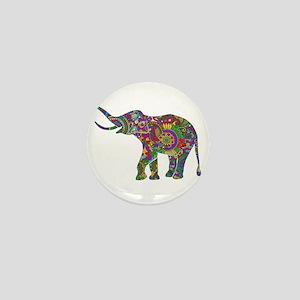 Cute Retro Colorful Floral Elephant Mini Button