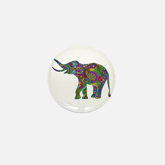 Cute Retro Colorful Floral Elephant Mini Button