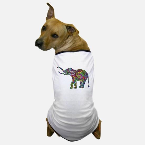 Cute Retro Colorful Floral Elephant Dog T-Shirt
