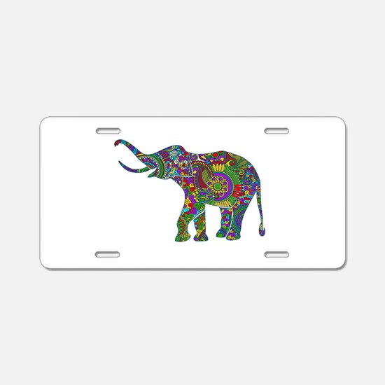 Cute Retro Colorful Floral Aluminum License Plate