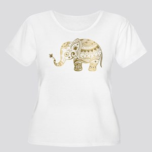 Gold tones cute tribal elephant Plus Size T-Shirt