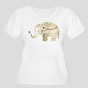 cc8bae9e00cd94 Gold tones cute tribal elephant Plus Size T-Shirt