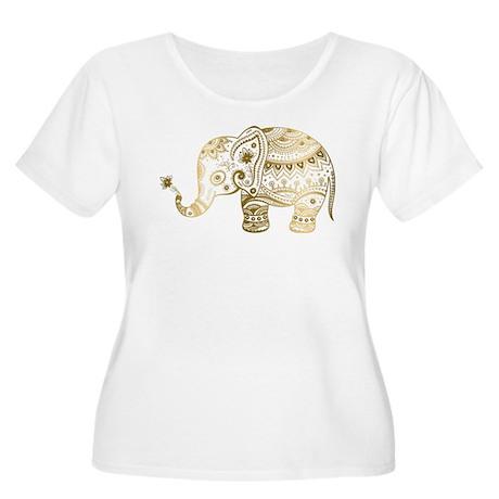Gold tones cute tribal elephant Plus Size T-Shirt