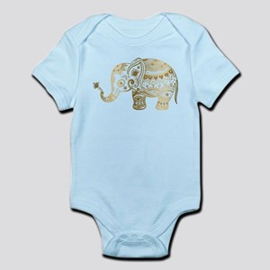 Gold tones cute tribal elephant illustra Body Suit