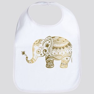 Gold tones cute tribal elephant illustration Bib