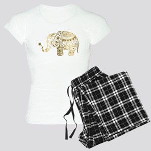 Gold tones cute tribal elep Women's Light Pajamas
