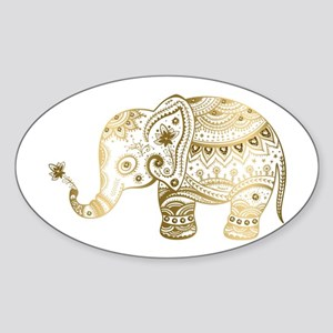 Gold tones cute tribal elephant illustrati Sticker