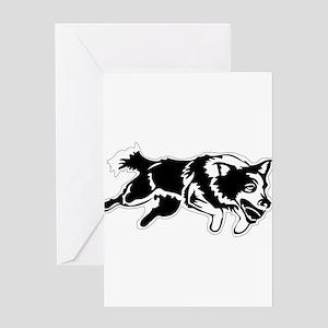 Dog jumping art Greeting Cards