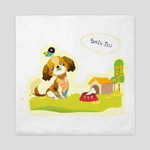 Cartoon dog house n food art Queen Duvet