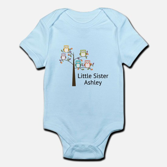 Personalized Little Sister Owl Tree Body Suit