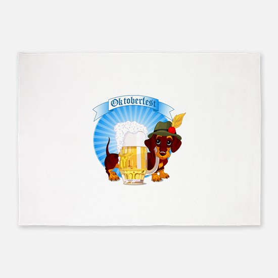 Cute dog with beer labels 5'x7'Area Rug