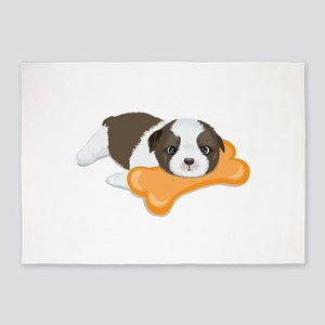 Cute dog holding bone 5'x7'Area Rug