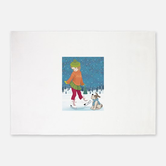 Winter little ice skating girl and 5'x7'Area Rug