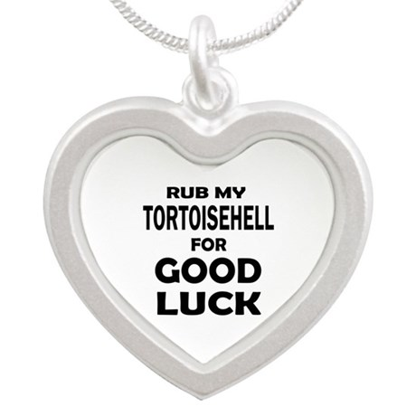 Rub my Tortoisehell for good Silver Heart Necklace