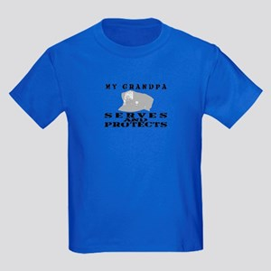 Serves & Protects Hat - Grndpa Kids Dark T-Shirt