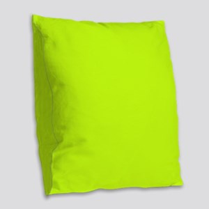 Neon Yellow Solid Color Burlap Throw Pillow
