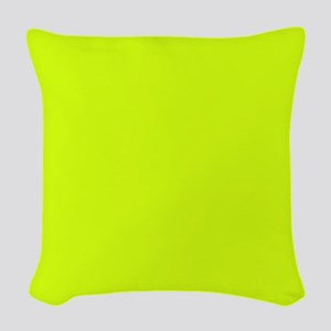 Neon Yellow Solid Color Woven Throw Pillow