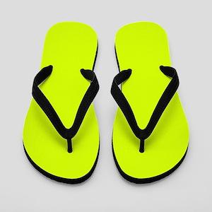 Neon Yellow Solid Color Flip Flops