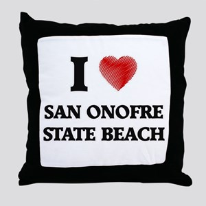 I love San Onofre State Beach Califor Throw Pillow