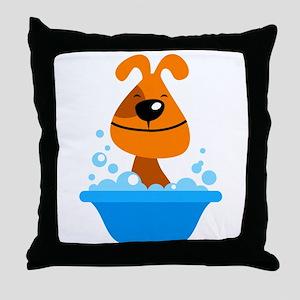 Dog bating in tub Throw Pillow