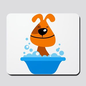 Dog bating in tub Mousepad