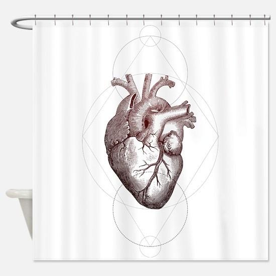 Geometric Heart Shower Curtain